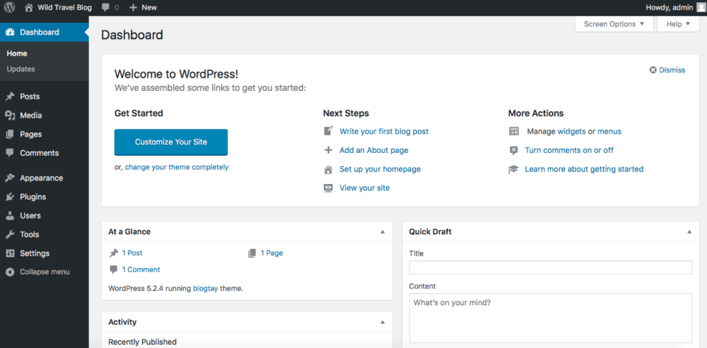 wordpress-interface