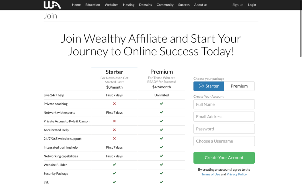 wealthy-affiliate-sign-up-form