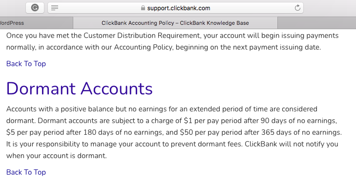 clickbank-dormant-account